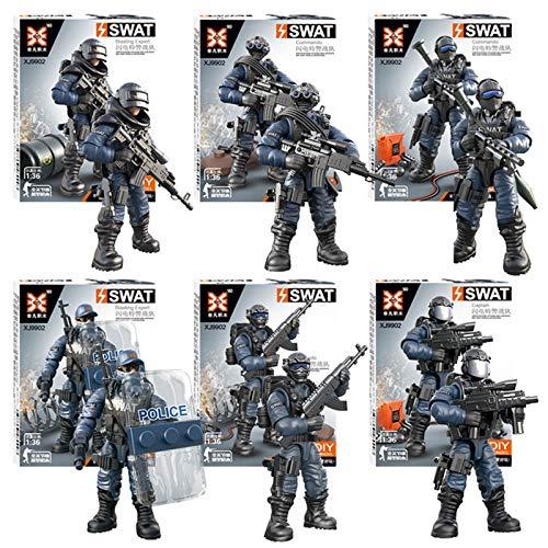 Winthai - 6 Pezzi Soldatini Giocattoli Militari, Action Figure Militari, Action Figure per Bambini, Modelli di Polizia con Giunti Mobili, Giochi di Assemblaggio per Bambini, Miglior Regalo