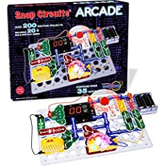 (Snap circuit's) arcade building sets has 30 snap modules to complete more than 200 projects! With a programmable word fan, dual LED display, and a pre-programmed picaxe micro-controller, the possibilities are endless. Arcade supports both STEM and s...