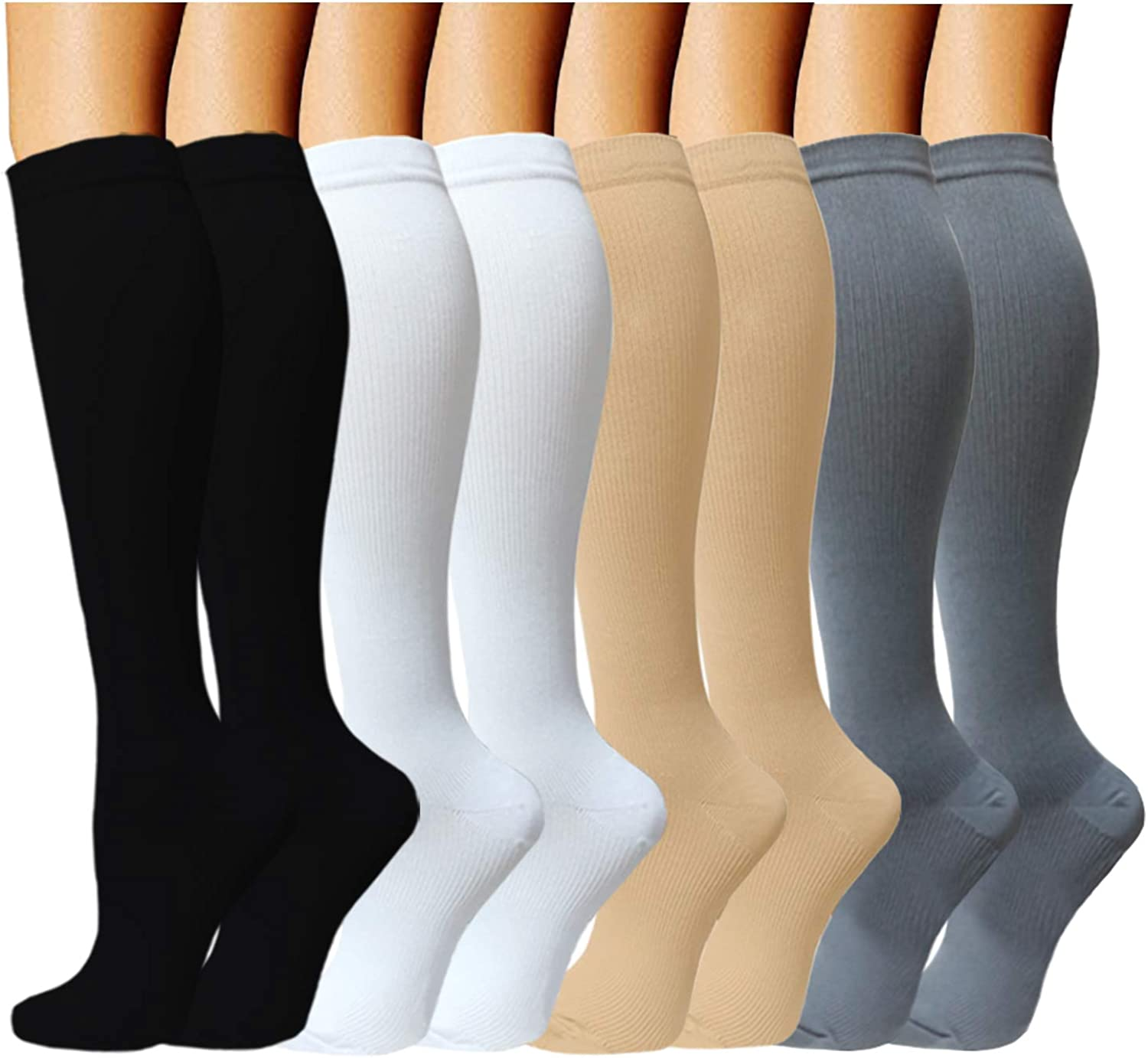 Compression Socks (8 Pairs) for Women & Men 1520mmHg  Best Medical,Running,Nursing,Hiking,Recovery & Flight Socks