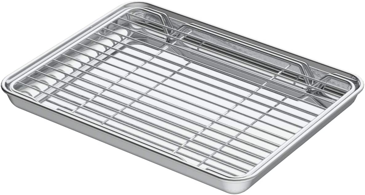 Small Stainless Steel Baking Sheets,Mini Cookie Sheets, Toaster Oven Tray Pan Rectangle Size 9.4Lx7Wx1H inch Non Toxic & Healthy,Superior Mirror Finish & Easy Clean by HEAHYSI, Dishwasher Safe