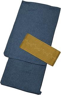 [ 京都きもの町 ] 男性 綿麻浴衣+帯 2点セット 藍色縞