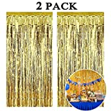 Aniyoo 2pack Gold Foil Fringe Curtain Xmas Metallic Tinsel Curtains 3.3ft x 9.8ft Gold Fringe Shimmer Curtains for Birthday Wedding Party Halloween Xmas Tinsel Door Curtains Gold Party Decorations