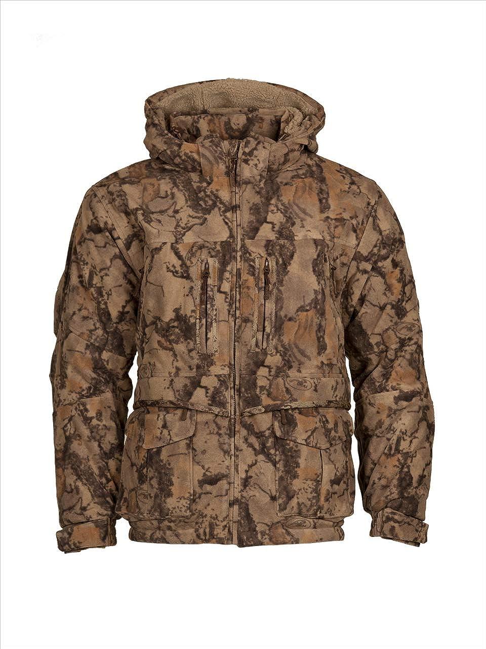 Windproof Full-Zip Fleece Parka Jacket for Men, Natural Camouflage Pattern, Men's Hunting Jacket - Natural Gear (Medium)