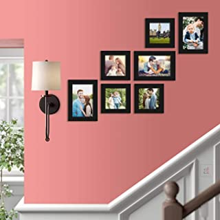 Art Street Uthopian Wall Photo Picture Frame for Home Decor with Hanging Accessories (5x5, 5x7 inches, Black) - Set of 7