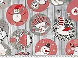 ab 1m: Weihnachtsdekostoff, Schneemänner, grau-rot 140cm