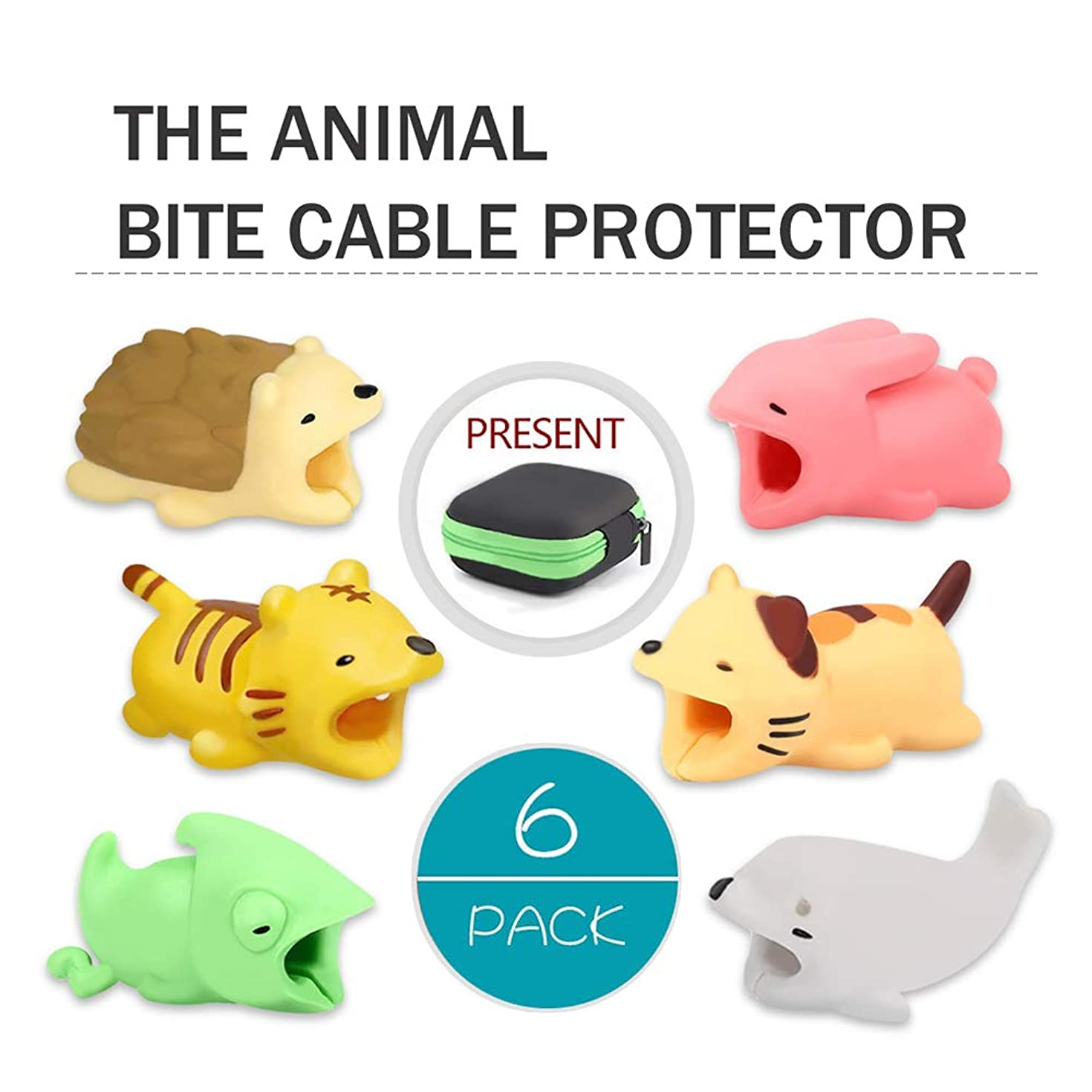 Cable Bite,Animal Bite Cable Protector with Earphone Storage Bag Tiger Animals Cable Bite Cable Buddies Cord Protector - 6Pcs by HSWT