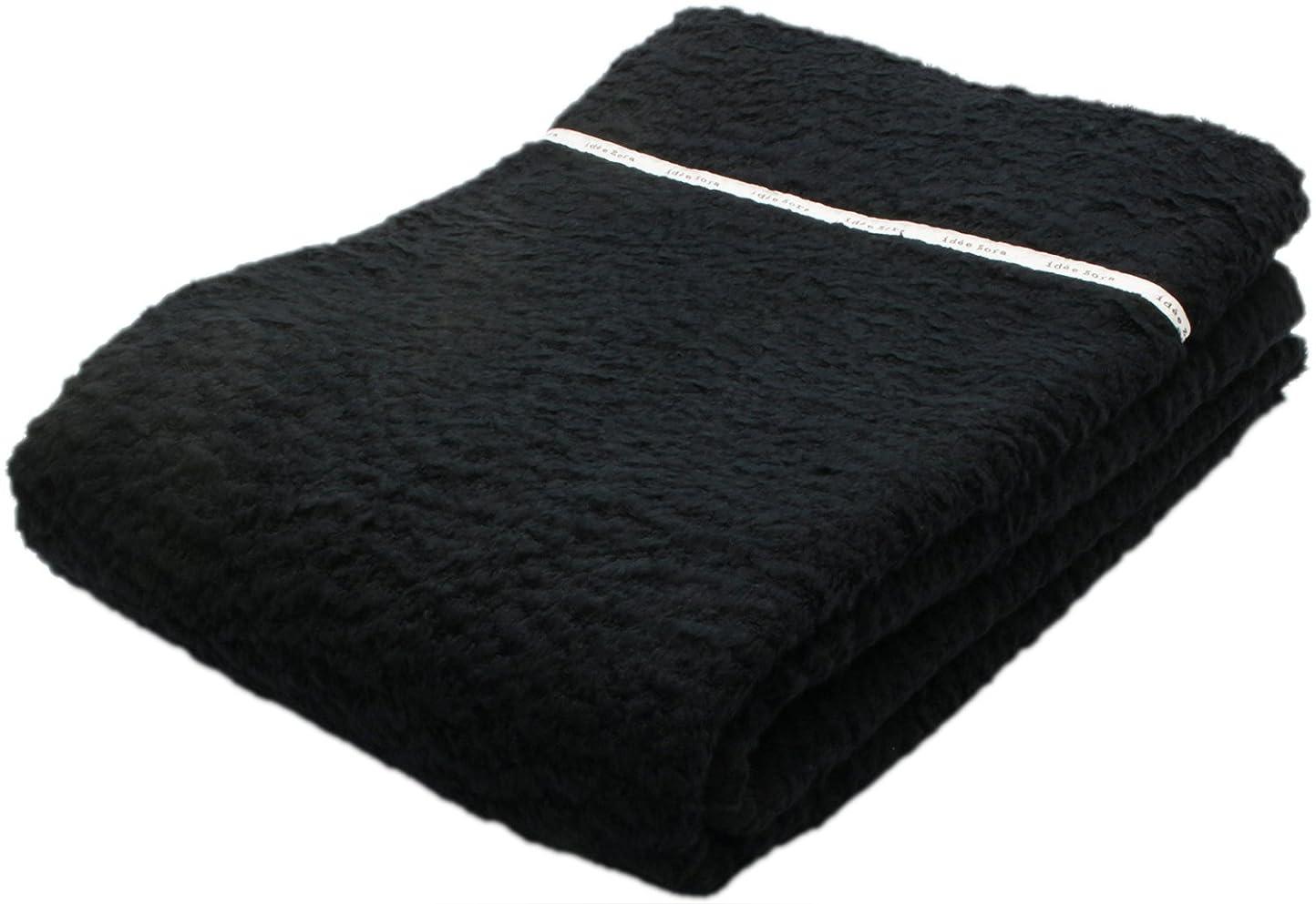 州苗バッジ今治タオル タオルケット イデゾラ ナチュラルタイム もこもこ ブラック シングル (約140×190cm) IZ0268