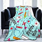 Not Applicable Ligera Manta Love A Nurse Whimsy Blue Blanket Super Soft Lujoso...