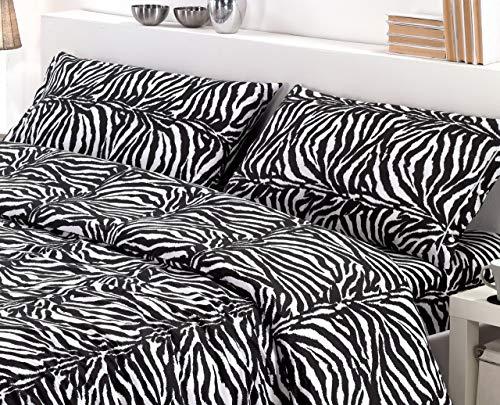 lenzuola zebrate Completo Lenzuola Federe Tessuto 100% Cotone Stampato Dis.Leopardato Zebrato 5 Misure (Zebrato
