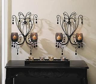 2 BLACK WALL SCONCE Chandelier CANDELABRA Candle HOLDER Wedding Centerpiece PAIR