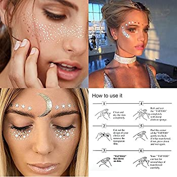 3 Sheets Face Tattoo Sticker Metallic Shiny Temporary Water Transfer Tattoo for Professional Make Up Dancer Costume Parties Shows Gold Glitter