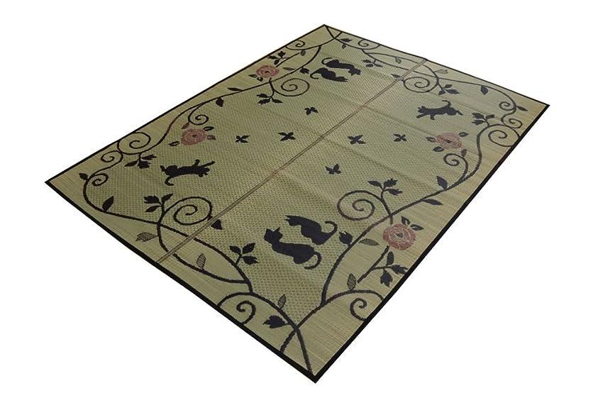 バスタブ急性聞くイケヒコ い草ラグ ラグ カーペット 3畳 かわいい 猫 ねこ ネコ 『NSシルエット』 約176×230cm (裏面:滑りにくい加工)