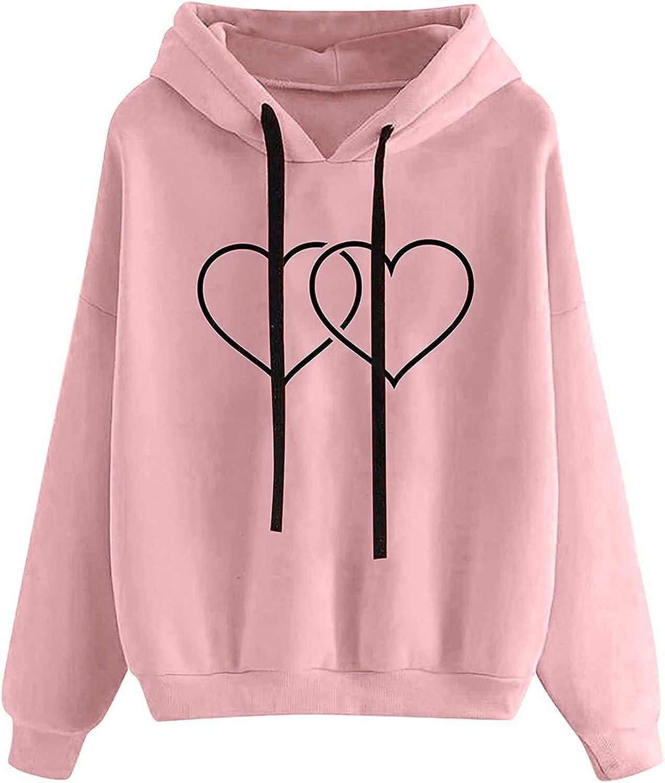 HIRIRI Loose Hoodies Over item handling ☆ for Women Colorado Springs Mall Printing Comfy Loo Pullover Heart