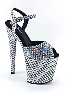 Leecabe New Materials Covered Heels Women's Platform Sandals Pole Dancing Shoes 8 Inch High Heels Shoes Ladies Shoes