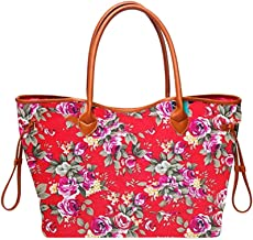 Respctful✿Fashion Folding Women Handbag Tote Ladies Casual Flower Printing Canvas Graffiti Shoulder Bag Beach Bolsa Feminina