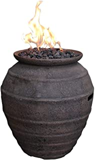 Modeno Pompeii Concrete Propane Fire Pot, Outdoor Fire Pit/Patio Furniture, 40,000 BTU Auto-Ignition, Stainless Steel Burner, Lava Rock Included