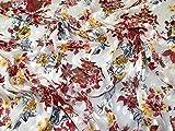 Minerva Crafts Chiffon-Stoff, Dobby, Meterware, Weiß/Rot