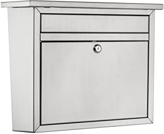 Architectural Mailboxes 2417PS-10 Maya Locking Wall Mount Mailbox Large Stainless Steel