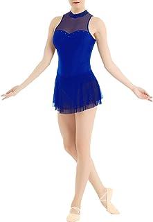 iiniim Vestido Ballet Mujer Clasico Maillot de Ballet Danza Patinaje Artístico Clásico Leotardo con Falda Corta Traje Bailarina sin Manga Tutu Malla Elegente