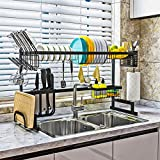 Mierting Over The Sink Dish Drying Rack, Dish Tray Storage Organizer, Space Saver Utensils Holder, Anti-Scratch Matte Black Stainless Steel Sink Rack Dish Drainer (Sink size ≤ 33.7 inch)