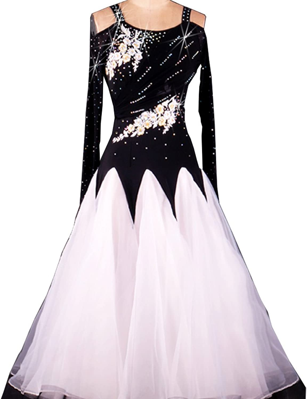 Full Nice Women's Ballroom Dance Competition Dress Modern Dance Long Sleeve Performance Dance Dress