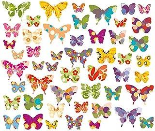 EAST-WEST Trading GmbH 50 x Mariposas, Pegatinas de Pared, Ventanas, imágenes de Mariposas, Pegatinas de Pared, Adhesivos para Azulejos, 50 Pegatinas, en una Superficie Total de 101,5 x 21 cm