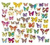 50 x Mariposas, pegatinas de pared, pegatinas para ventanas, pegatinas para ventanas, pegatinas para pared, azulejos y azulejos, 50 pegatinas en una superficie total de 101,5 x 21 cm