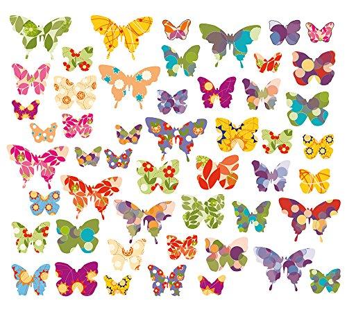 50 x Schmetterlinge, Wandsticker, Fenstersticker, Fensterbilder Schmetterlinge, Windowsticker, Wandtattoos, Fliesenaufkleber, 50 Aufkleber, auf einer Gesamtfläche von 101,5 x 21 cm