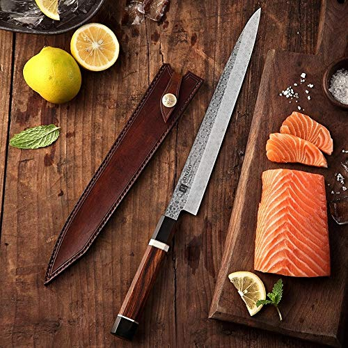 Mrjg Sushi Cuchillo 10.5 Pulgadas Sushi Sashimi Knife Japonesa Pesca Cuchillo de Cocina salmón Sushi Herramienta de Cuchillos con la Envoltura de Cuero