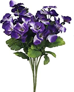 Htmeing 2pcs 10 Heads Artificial Pansy Orchids Bushes Flowers Home Office Wedding Decoration (Purple Blue)