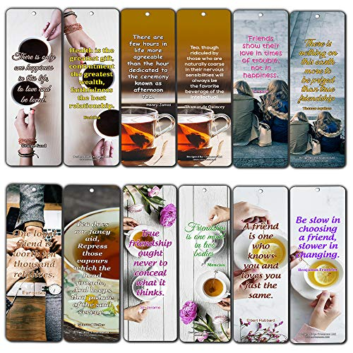 Creanoso Tea Time Friendship Bookmarks (12-Pack) - Awesome Bookmarks for Men, Women, Teens – Six Bulk Assorted Bookmarks Designs – Premium Design Gifts for Friends – Friendship Bookmarkers