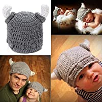yazi Gray Ox Horn Hat Unisex Newborn Baby Cap Crochet Photography Props by yazi [並行輸入品]