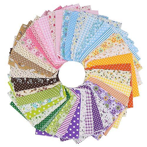 Baumwollstoff, 42 Stück 25 x 25 cm Patchwork Stoff Paket Stoffreste DIY Mehrfarbig Baumwollstoff Meterware Stoff Baumwolle zum Nähen, Kleidung, Bettwäsche, Vorhänge, Tischdecken usw. handgefertigt