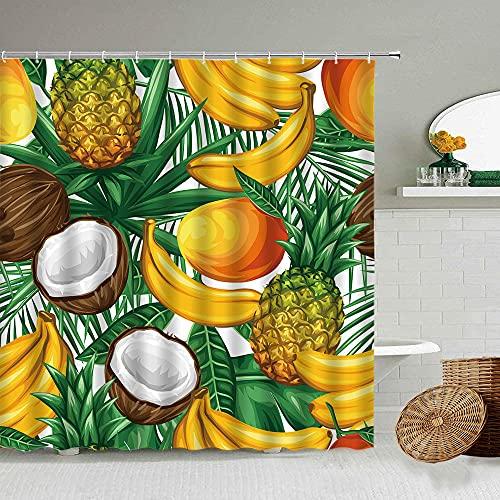 Duschvorhang mit tropischem Sommerfrucht, Ananas, Bananen, Palmblätter, grüne Pflanzen, wasserdicht, Polyester, 180 x 180 cm (B x H)
