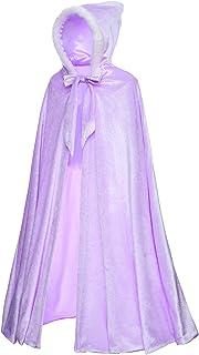Deluxe Princess Soft Velvet Hooded Long Cape Cloak Costume for Girls Dress Up Party