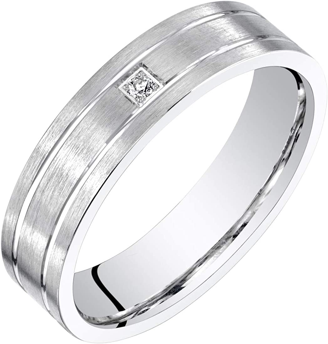 Mens 14K White Gold Genuine Diamond Wedding Ring Band 5mm Sizes 8 to 14