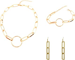 3 Pcs/Set Paperclip Chain Necklace Chain Link Paperclip Bracelet Paperclip Dangle Earrings Set Dainty Chunky Chain Link Pa...