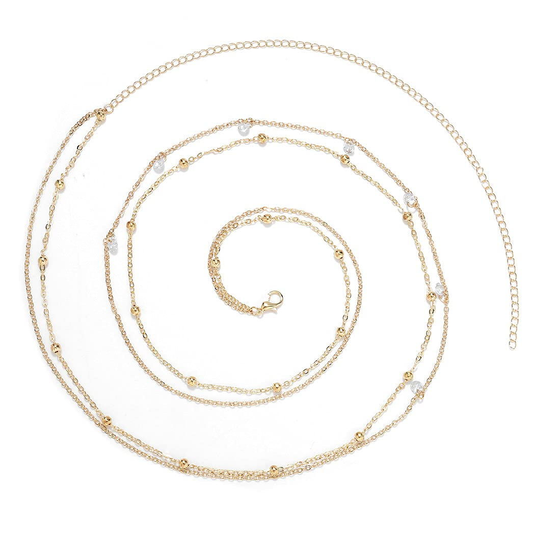 ELABEST Layered Beaded Waist Chain Beads Belly Chain Crystal Stomach Chain Rhinestone Body Jewelry Accessories for Women and Girls (gold)