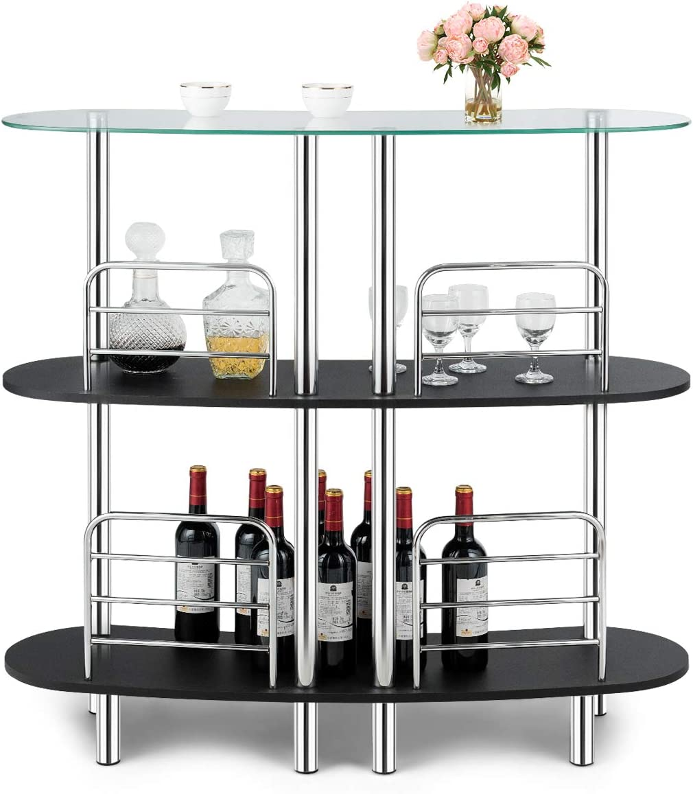San Jose Mall COSTWAY 3-Tier online shopping Glass Liquor Bar with Storage Wine Cabinets