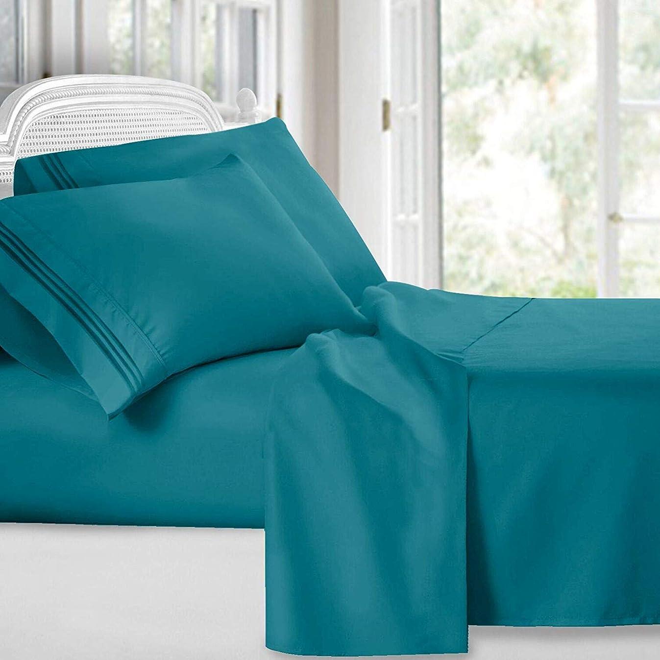 SuperLinen Amazon Original 550 ThreadCount 1 Piece Flat Sheet Queen Teal Solid 100% Egyptian Cotton