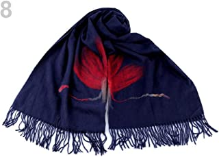 1pc Blue Dark Scarf with Fringes and Felt Flower 70x180cm, Winter Shawls Snoods, Shawls, Scarves &, Fashion Accessories