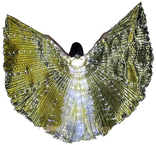 wsbdking DIRIGIÓ ISIS Wings ADULTURADOR ADULTIVO IRIDESCENTE Danza Danza Danza Buenca Danza DIRIGIÓ Alas de ISIS con Palos/Varillas (Color: Oro Transparente)