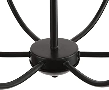 LALUZ Black Chandelier, Dining Room Fixture Transitional Modern Farmhouse Kitchen Island Lighting, 26 inches, 6 Source