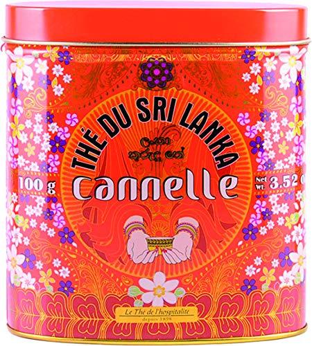 Terre d'Oc - Schwarzer Bio Ceylon-Tee mit Zimtstücken und -extrakt (Thé du Sri Lanka canelle) in dekorativer Metalldose 100 g