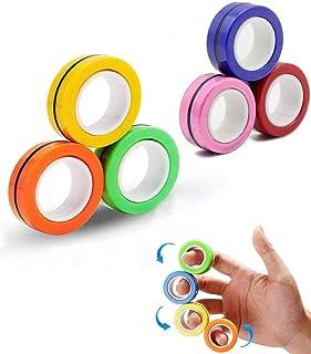Magnetic Ring Decompression Toy Finger Magnet Toy Magnetic Fingertip Toys Creative Fingertip Spinning Toy N40 Magic Finger...