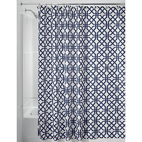 iDesign Trellis Textil Duschvorhang, Duschabtrennung für Badewanne und Duschwanne mit Spalier-Motiv, 183 cm x 183 cm Vorhang aus Stoff, Polyester blau