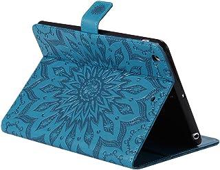 iPad Mini1 Mini2 Mini3手帳型 ケース,ksled 高級PUレザー 手帳型 カードポケット ストラップ付 スタンド機能 マグネット開閉式 オートスリープ機能 スマートケース + 強化ガラス 液晶保護フィルム 硬度9H 全面保護 iPad。(青)