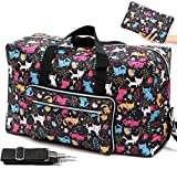 Foldable Travel Duffle Bag for Women Girls Large Cute Floral Weekender Overnight Carry On Bag for Kids Checked Luggage Bag (A-Color Cat)