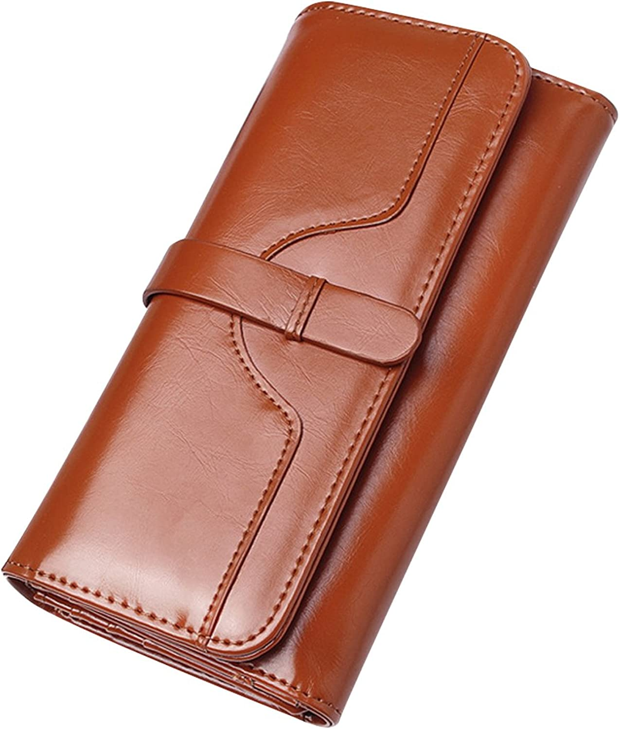Bzybel Women's Leather Trifold Wallet Clutch Long Orgainer Purse