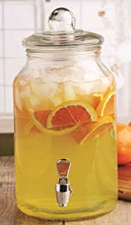 Circleware 92008 Mason Jar Beverage Dispenser and Glass Lid, New Fun Party Entertainment Home & Kitchen Glassware Pitcher for Water, Juice, Beer, Punch, Iced Tea, Cold Drinks, 1 Gallon, Charming